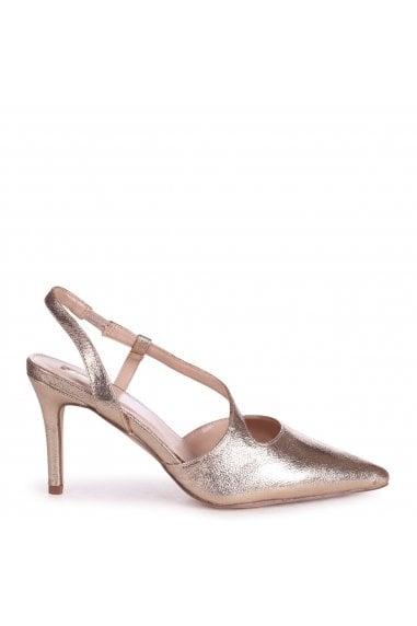 BERKELEY - Cracked Gold Wrap Around Sling Back Court Heel