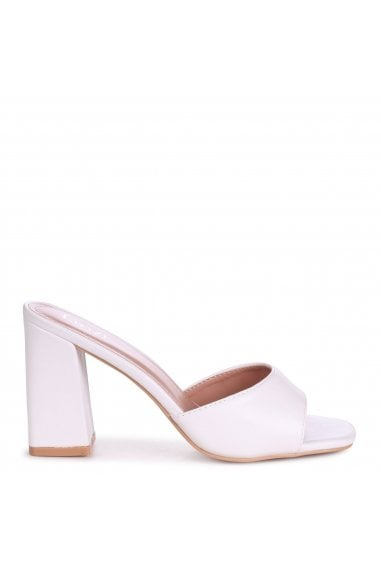 BRIXTON - White Leather Block Heeled Mule