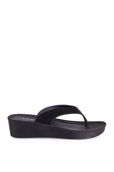 SEASHELLS - Black Wedged Glitter Flip Flop