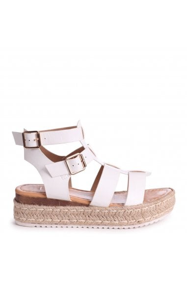 MADRID - White Nappa Gladiator Espadrille Platform Wedge