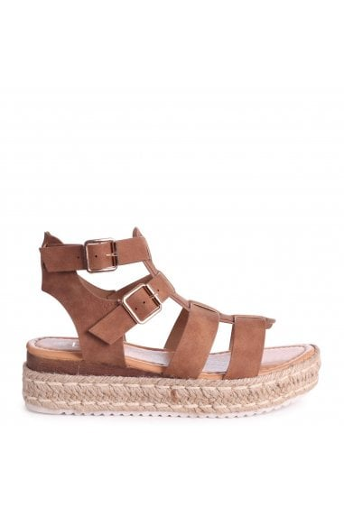 MADRID - Tan Nubuck Gladiator Espadrille Platform Wedge