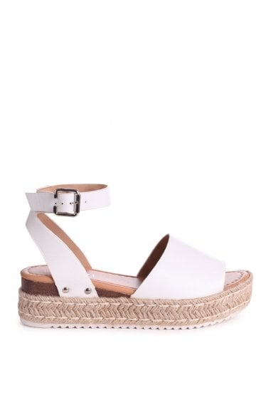 MOONLIGHT - White Nappa Two Part Espadrille Inspired Platform Wedge