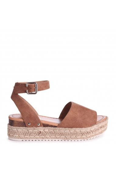 MOONLIGHT - Tan Nubuck Two Part Espadrille Inspired Platform Wedge