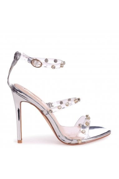 THRILLER - Silver Metallic & Perspex Diamante Studded Embellished Stiletto Heel