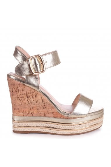 APRIL - Gold Cork Wedge With Gold & Rope Trim