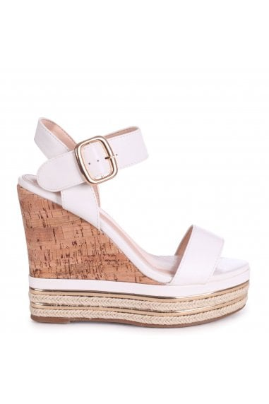 APRIL - White Nappa Cork Wedge With Gold & Rope Trim