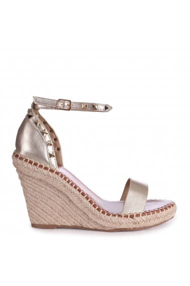 PROSECCO - Gold Espadrille Wedge With Studded Detail