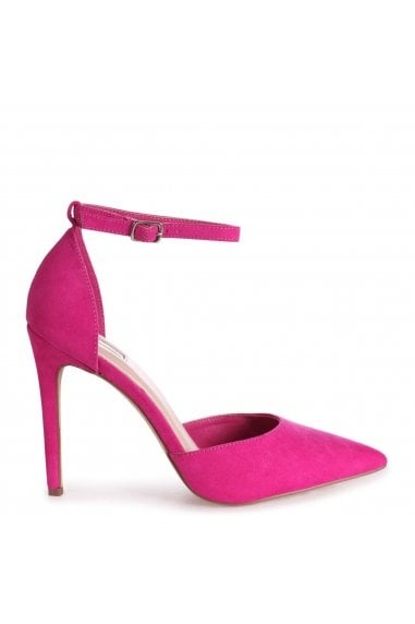 WHITNEY - Hot Pink Suede Court Heel With Ankle Strap