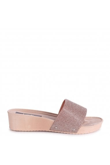 ROSALIA - Gold Slip On Wedged Slider With Glitter Front Strap