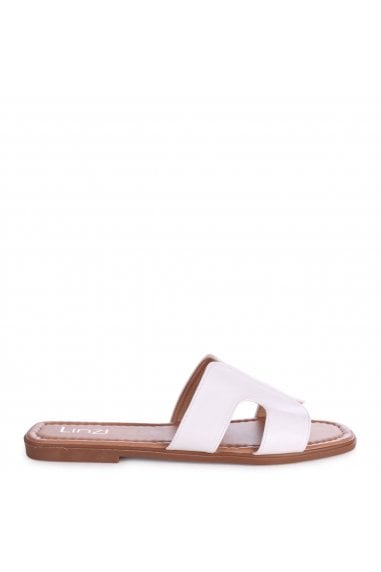 BARCELONA - White Nappa Square Toe Slider With Link Shaped Front Strap
