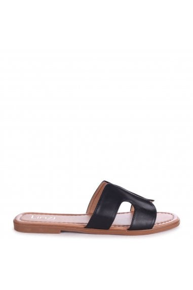 BARCELONA - Black Nappa Square Toe Slider With Link Shaped Front Strap