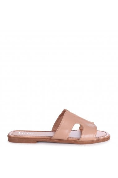 BARCELONA - Mocha Nappa Square Toe Slider With Link Shaped Front Strap