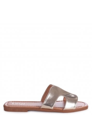 BARCELONA - Gold Metallic Square Toe Slider With Link Shaped Front Strap