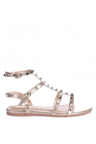 VIOLET - Gold All Over Studded Gladiator Sandal