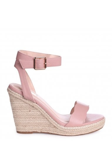 MARS - Dusky Pink Nappa Rope Platform Wedge With Wavey Front Strap