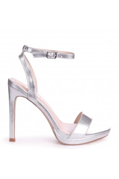 HIGHER LOVE - Silver Open Back Barely There Stiletto Sandal