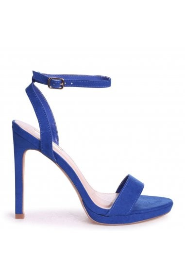 HIGHER LOVE - Cobalt Blue Suede Open Back Barely There Stiletto Sandal