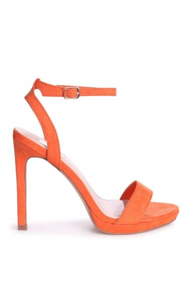 HIGHER LOVE - Orange Suede Open Back Barely There Stiletto Sandal