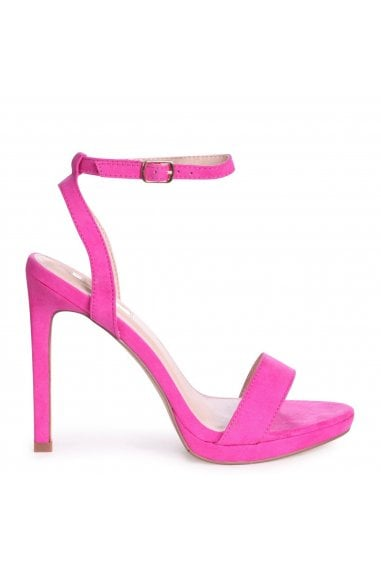 HIGHER LOVE - Hot Pink Suede Open Back Barely There Stiletto Sandal