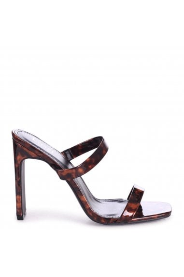 MIMI - Tortoiseshell Mule With Double Front Strap And Thin Heel