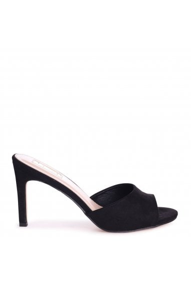 LOVE STORY - Black Suede Mule With Stiletto Heel