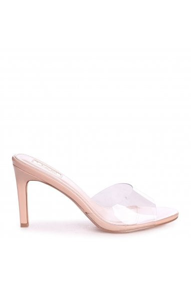 LOVE STORY - Nude Patent Perspex Mule With Stiletto Heel