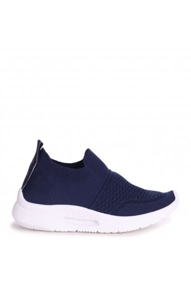 FLY - Navy Sock Trainer With White Rubber Sole