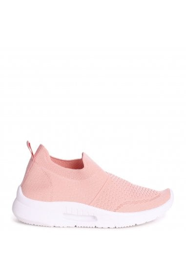 FLY - Pink Sock Trainer With White Rubber Sole