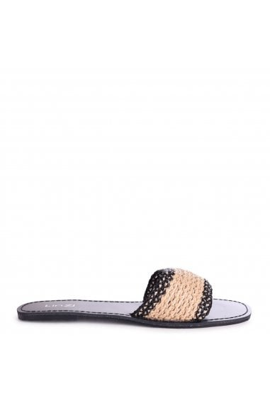 ZEUS - Black Slider With Beige Woven Front Strap
