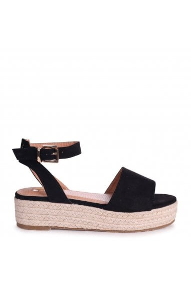 DYNASTY - Black Suede Espadrille Inspired Two Part Flatform With Buckle Detail
