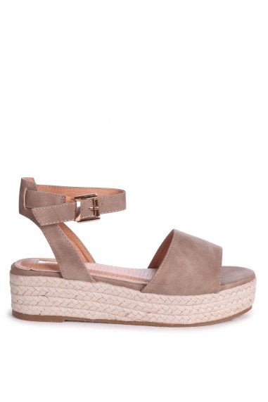 DYNASTY - Mocha Suede Espadrille Inspired Two Part Flatform With Buckle Detail