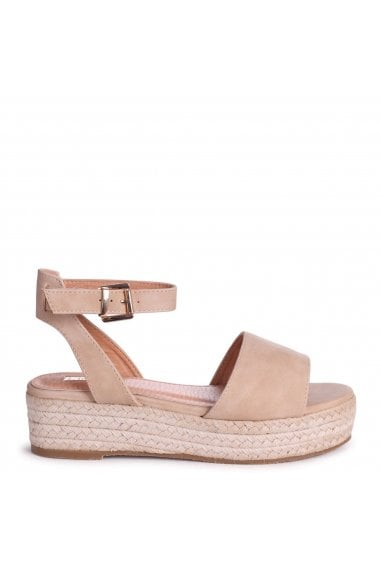 DYNASTY - Nude Suede Espadrille Inspired Two Part Flatform With Buckle Detail