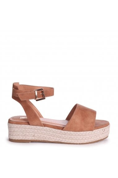 DYNASTY - Tan Suede Espadrille Inspired Two Part Flatform With Buckle Detail