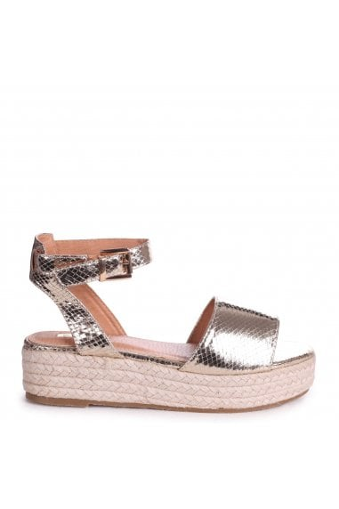 DYNASTY - Gold Lizard Espadrille Inspired Two Part Flatform With Buckle Detail