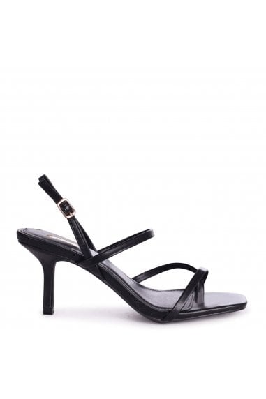 ROMY - Black Nappa Square Toe Strappy Stiletto Heel