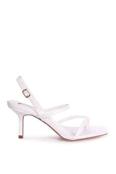 ROMY - White Nappa Square Toe Strappy Stiletto Heel