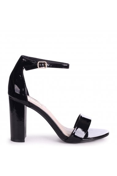 DAZE - Black Patent Barely There Block High Heel