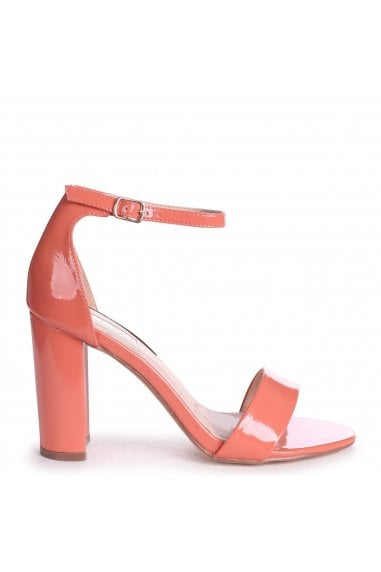 DAZE - Coral Patent Barely There Block High Heel