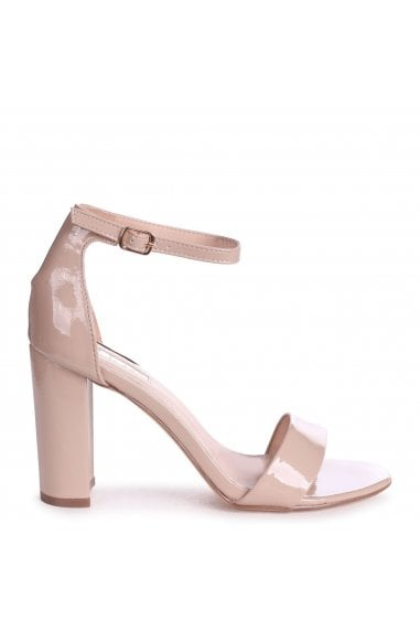 DAZE - Nude Patent Barely There Block High Heel