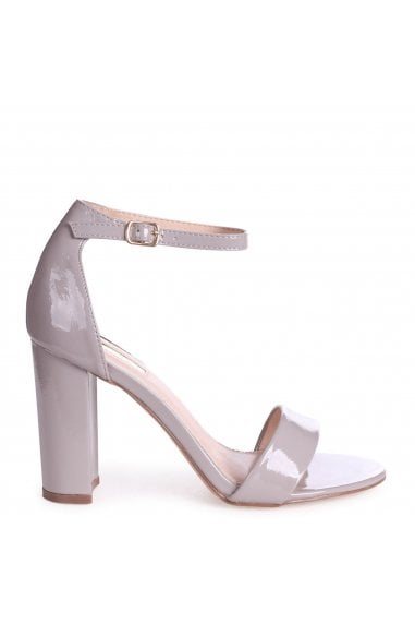DAZE - Grey Patent Barely There Block High Heel