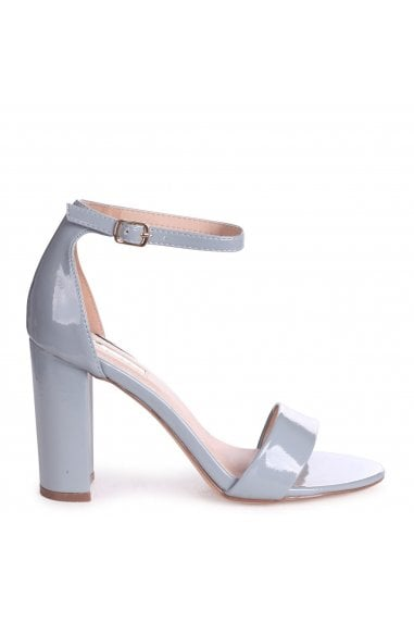 DAZE - Blue Patent Barely There Block High Heel