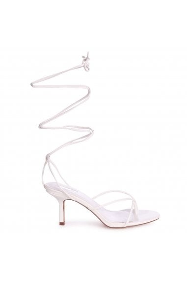 LOVE AFFAIR - White Lace Up Strappy Toe Post Stiletto Heel