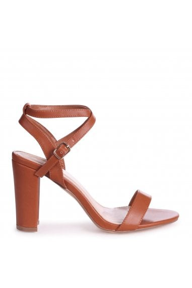 TRUE LOVE - Tan Nappa Block Heeled Sandal With Crossover Ankle Strap