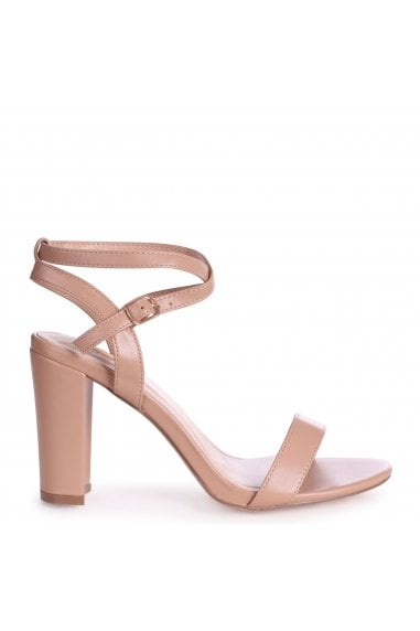 TRUE LOVE - Mocha Nappa Block Heeled Sandal With Crossover Ankle Strap