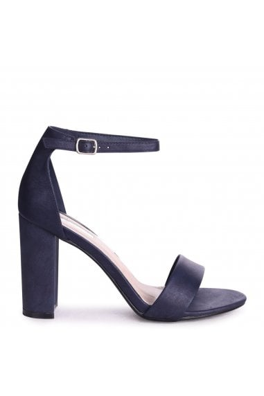 COLLY - Navy Glitter Nubuck Single Sole Block Heel
