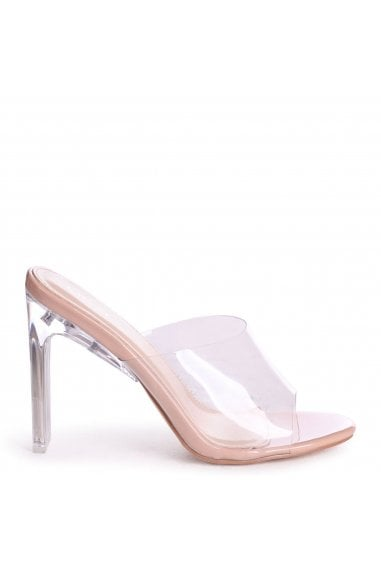 ADORE - Nude Patent Perspex Mule With Plastic Thin Block Heel