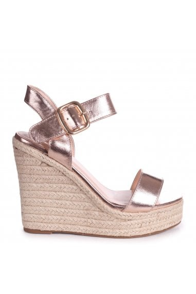 CUBA - Rose Gold Metallic Rope Platform Wedge