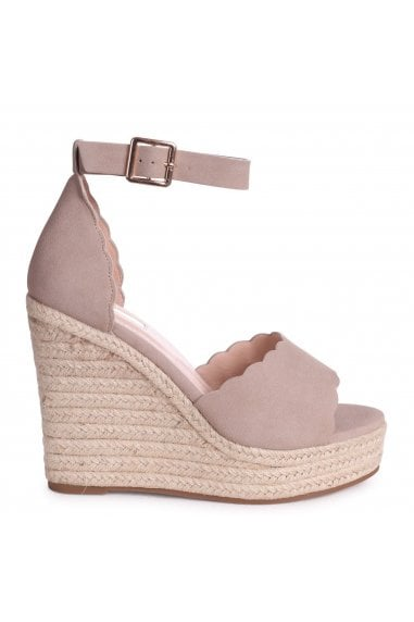 CHERISH - Concrete Suede Rope Platform Wedge With Wavey Front Strap