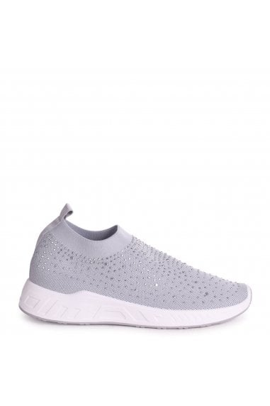 LARA - Grey Sock Trainer With All Over Diamante Detail & White Rubber Sole