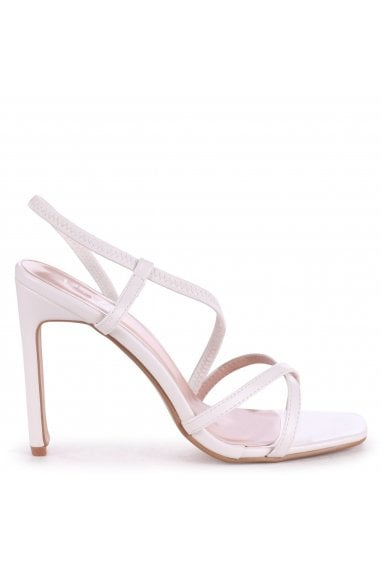 STARLIGHT - White Nappa Sling Back Strappy Slim Heel